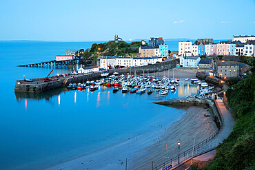 View over harbour and castle, Tenby, Carmarthen Bay, Pembrokeshire, Wales, United Kingdom, Europe