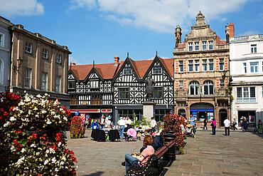 The Square and High Street shops, Shrewsbury, Shropshire, England, United Kingdom, Europe