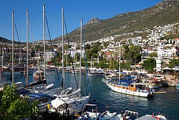 Gulets in harbour, Kalkan, Lycia, Antalya Province, Mediterranean Coast, Southwest Turkey, Turkey, Asia Minor, Eurasia