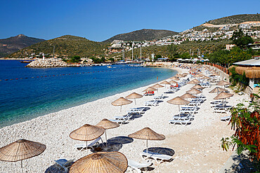 View over beach, Kalkan, Lycia, Antalya Province, Mediterranean Coast, Southwest Turkey, Anatolia, Turkey, Asia Minor, Eurasia