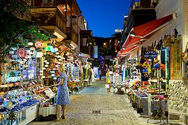 Gift shops at night in the old town, Kalkan, Lycia, Antalya Province, Mediterranean Coast, Southwest Turkey, Turkey, Asia Minor, Eurasia