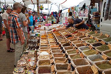 Spice stall at the Thursday Market, Kalkan, Lycia, Antalya Province, Mediterranean Coast, Southwest Turkey, Turkey, Asia Minor, Eurasia