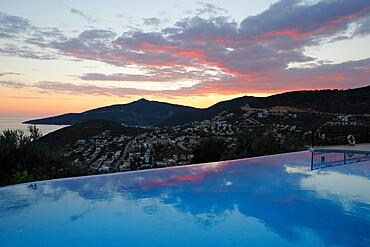 Infinity pool at sunset, Mediteran Hotel, Kalkan, Lycia, Antalya Province, Mediterranean Coast, Southwest Turkey, Turkey, Asia Minor, Eurasia
