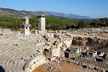 Amphitheatre and Harpy monument, Xanthos, Kalkan, Lycia, Antalya Province, Mediterranean Coast, Southwest Turkey, Anatolia, Turkey, Asia Minor, Eurasia