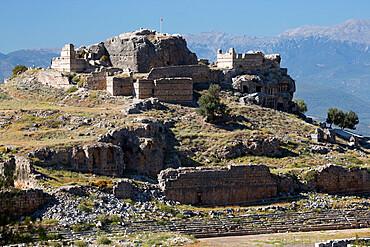 Ruined stadium and Acropolis, Tlos, near Kalkan, Lycia, Antalya Province, Mediterranean Coast, Southwest Turkey, Anatolia, Turkey, Asia Minor, Eurasia