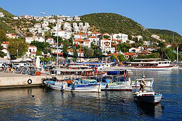 Fishing boats in harbour, Kas, Lycia, Antalya Province, Mediterranean Coast, Southwest Turkey, Turkey, Asia Minor, Eurasia