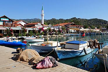 Fishing harbour and restaurants, Ucagiz, near Kas, Lycia, Antalya Province, Mediterranean Coast, Southwest Turkey, Turkey, Asia Minor, Eurasia