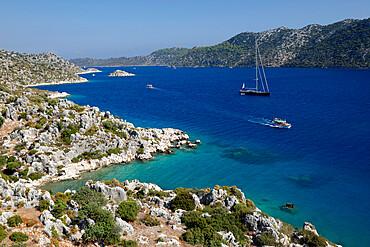 Coastline looking to Kekova, Ucagiz, near Kas, Lycia, Antalya Province, Mediterranean Coast, Southwest Turkey, Anatolia, Turkey, Asia Minor, Eurasia