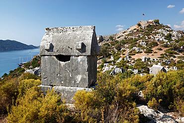 Lycian sarcophagus and castle, Simena (Kalekoy), Kekova, Lycia, Antalya, Mediterranean Coast, Southwest Turkey, Anatolia, Turkey, Asia Minor, Eurasia