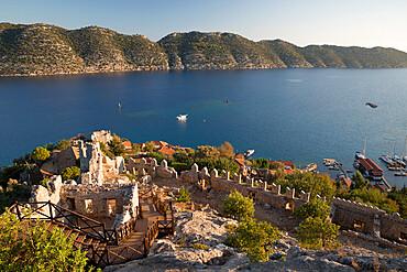 View over castle and Kekova, Simena (Kalekoy), near Kas, Lycia, Antalya, Mediterranean Coast, Southwest Turkey, Anatolia, Turkey, Asia Minor, Eurasia