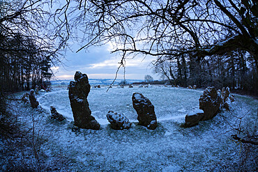 The King's Men in snow, The Rollright Stones, near Chipping Norton, Cotswolds, Oxfordshire, England, United Kingdom, Europe