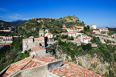 View over village used as set for filming The Godfather, Savoca, Sicily, Italy, Europe