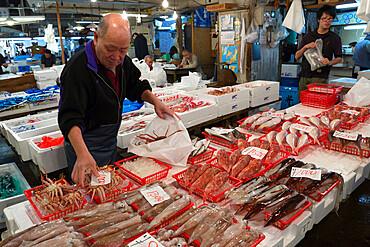 Tsukiji fish market, Chuo, Tokyo, Japan, Asia