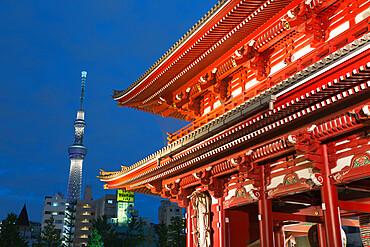 Senso-ji temple and Skytree Tower at night, Asakusa, Tokyo, Japan, Asia