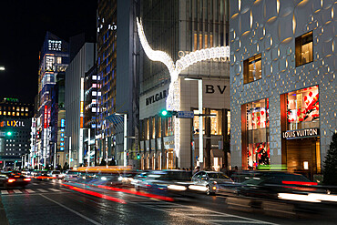 Exclusive designer shops at night, Ginza area, Chuo, Tokyo, Japan, Asia