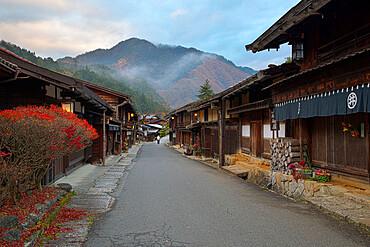 Wooden houses of old post town, Tsumago, Kiso Valley Nakasendo, Central Honshu, Japan, Asia