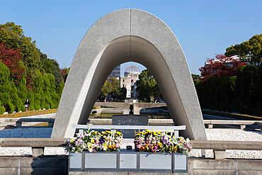 Cenotaph for the A-Bomb Victims, Hiroshima Peace Memorial Park, Hiroshima, Western Honshu, Japan, Asia