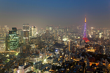 Dusk view of Tokyo from Tokyo City View observation deck, Roppongi Hills, Tokyo, Japan, Asia