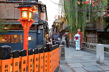 Tatsumi Bashi, the bridge from Memoirs of a Geisha novel, Gion district (Geisha area), Kyoto, Japan, Asia