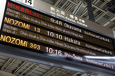 Bullet Train departure board, Kyoto, Japan, Asia