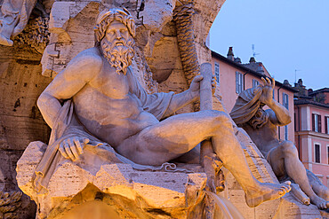 Figure representing the River Ganges on Bernini's Fountain of the Four Rivers, Piazza Navona, Rome, Lazio, Italy, Europe