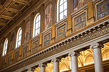 Mosaics along nave of basilica of Santa Maria Maggiore (St. Mary Major), Piazza Santa Maria Maggiore, Rome, Lazio, Italy, Europe