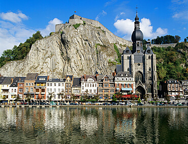 Citadel and Collegiate Church on River Meuse, Dinant, Wallonia, Belgium, Europe