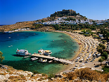 View over beach and castle, Lindos, Rhodes Island, Dodecanese Islands, Greek Islands, Greece, Europe