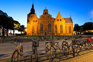 Renaissance church of Trefaldighetskyrkan at night, Kristianstad, Skane, South Sweden, Sweden, Scandinavia, Europe