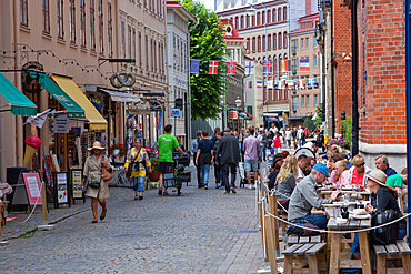 Cafes and shops in trendy Haga District, Haga Nygata, Gothenburg, West Gothland, Sweden, Scandinavia, Europe