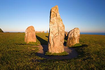 Boat shaped standing stones of Ales Stenar, Kaseberga, Skane, South Sweden, Sweden, Scandinavia, Europe