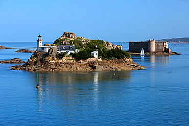 Lighthouse on Ile Louet and Chateau du Taureau in Morlaix Bay, Carantec, Finistere, Brittany, France, Europe