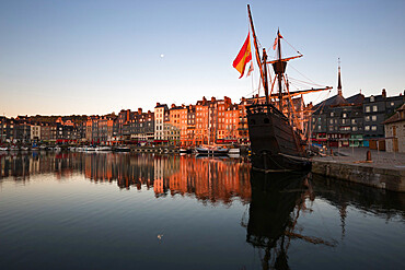Vieux Bassin looking to Saint Catherine Quay with replica galleon at dawn, Honfleur, Normandy, France, Europe