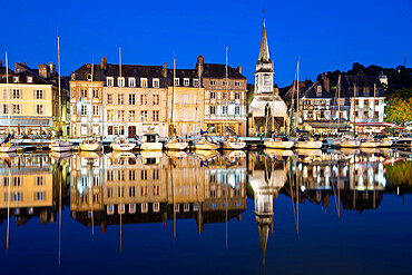 Saint Etienne Quay in Vieux Bassin at night, Honfleur, Normandy, France, Europe