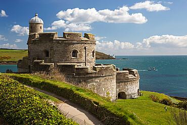 St. Mawes Castle and coastline, St. Mawes, Cornwall, England, United Kingdom, Europe