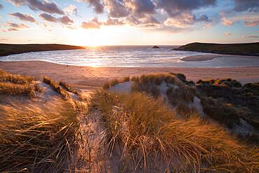 Ribbed sand and sand dunes at sunset, Crantock Beach, Crantock, near Newquay, Cornwall, England, United Kingdom, Europe