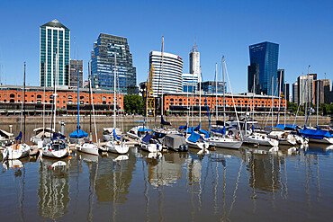 Old warehouses and office buildings from marina of Puerto Madero, San Telmo, Buenos Aires, Argentina, South America