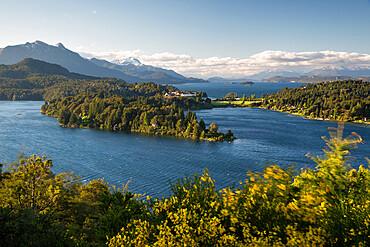 Lago Perito Moreno and Hotel Llao-Llao from Circuito Chico, near Bariloche, Nahuel Huapi National Park, Lake District, Argentina, South America