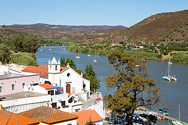 View over whitewashed village of Alcoutim on Rio Guadiana river, Alcoutim, Algarve, Portugal, Europe