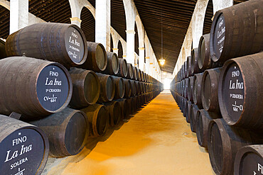 Sherry barrels at the Lustau Bodega, Jerez de la Frontera, Cadiz province, Andalucia, Spain, Europe
