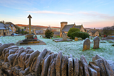 St. Barnabas church and Cotswold village in frost, Snowshill, Cotswolds, Gloucestershire, England, United Kingdom, Europe