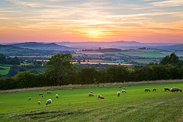 Cotswold landscape and distant Malvern Hills at sunset, Farmcote, Cotswolds, Gloucestershire, England, United Kingdom, Europe