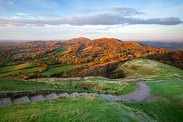 Iron-age British Camp hill fort and the Malvern Hills in autumn, Great Malvern, Worcestershire, England, United Kingdom, Europe