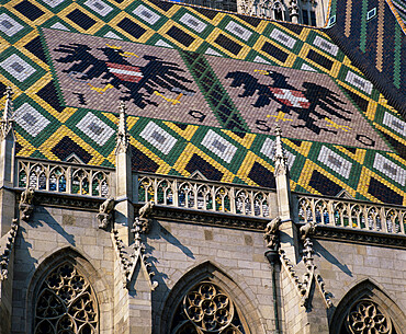 St. Stephen`s Cathedral with coat of arms on roof, UNESCO World Heritage Site, Vienna, Austria, Europe