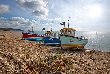 Three small fishing boats pulled up on shingle beach, Beer, Devon, England, United Kingdom, Europe