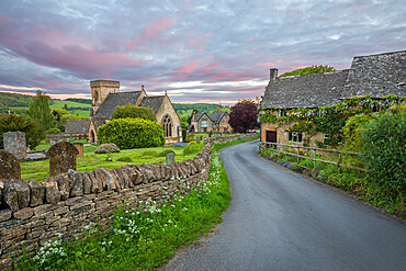 St. Barnabas church and Cotswold stone cottages at dawn, Snowshill, Cotswolds, Gloucestershire, England, United Kingdom, Europe
