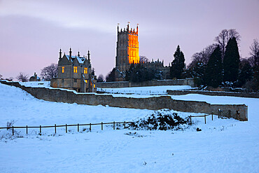 Remains of Old Campden House and St. James' church in snow, Chipping Campden, Cotswolds, Gloucestershire, England, United Kingdom, Europe
