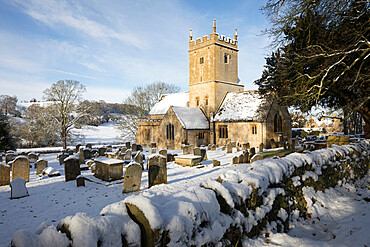 St. Eadburgha's Church in snow, Broadway, The Cotswolds, Worcestershire, England, United Kingdom, Europe