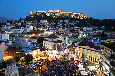 Monastiraki Square with music concert and the Acropolis from roof of A for Athens hotel at night, Monastiraki, Athens, Greece, Europe