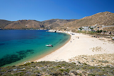 Vagia beach with view of Coco Mat Hotel on south coast, Serifos, Cyclades, Aegean Sea, Greek Islands, Greece, Europe